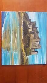 Original oil painting dunstanburgh castle