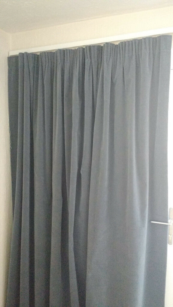 One Pair Grey Velour Curtains In Very Good Condition Pencil Pleat