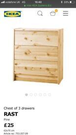 Ikea Rast Chest Of Drawers 62x70x30cm