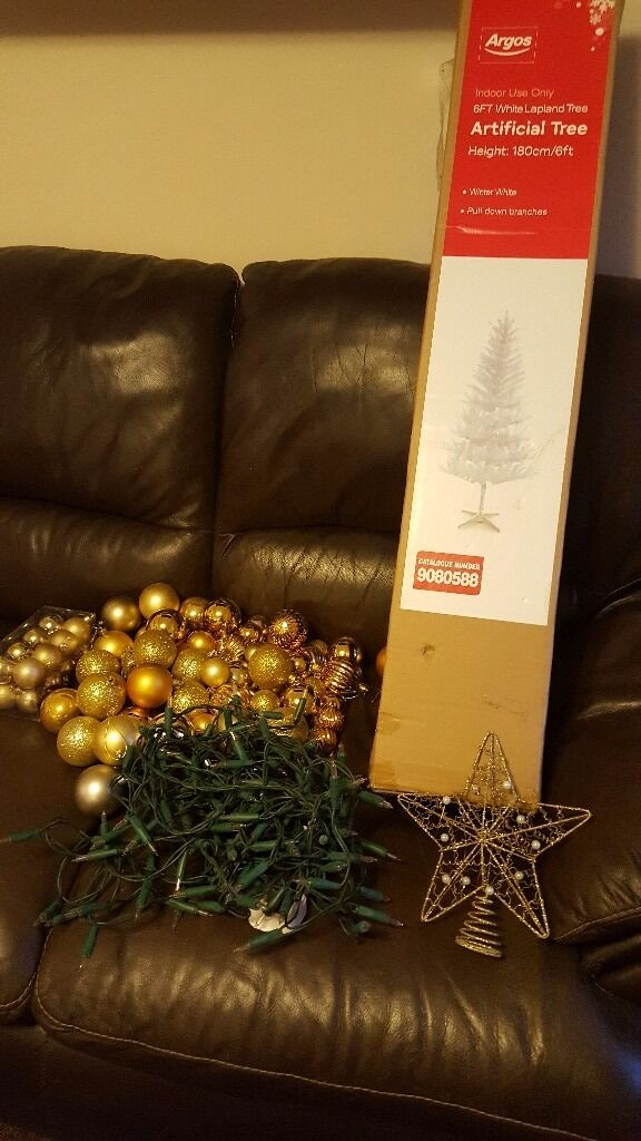 6ft white Christmas tree with multi function lights and gold baubles