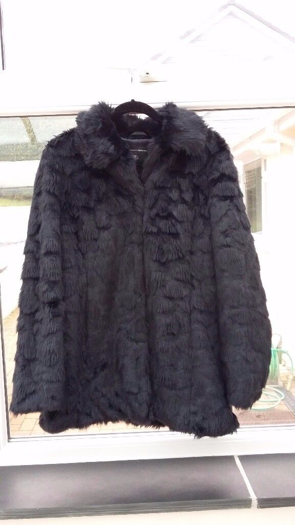 Faux fur coat/jacket - black and perfect condition