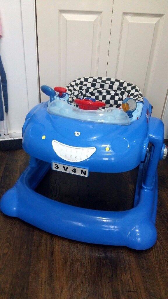 Mothercare blue car baby walker