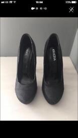 Women's black glitter high heels