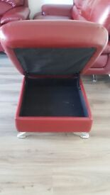 2 X Red Leather Sofa and 1 X Storage Footstool