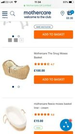 Mothercare Snug Moses Basket with Stand