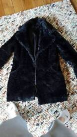 Black fur coat M&S size 10