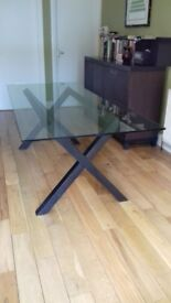 "Habitat ""Dublin"" 8 seater walnut stained oak and glass dining table,very good condition"