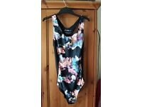 Blue Floral Print Swimming Costume - Size 12
