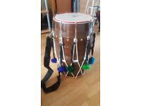 Dhol for sale. Comes with bag, sticks and decorative pom poms. Ideal for young beginners.