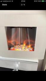 White square electric heater fire