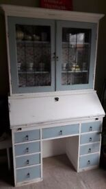 Antique vintage shabby chic Bureau bookcase