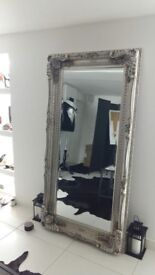 Large Mirror With Silver Baroque Frame