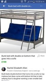 Silver bunk beds double on bottom that can be put into a sofa great condition no matress on top