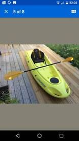 Bic ouassau kayak with paddle and backrest