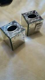 Two mirrored glass and detail tissue boxes