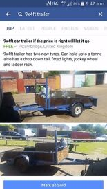 9x4ft Car trailer braked with rare landy wheels