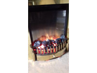 Electric inset fire - brass with remote