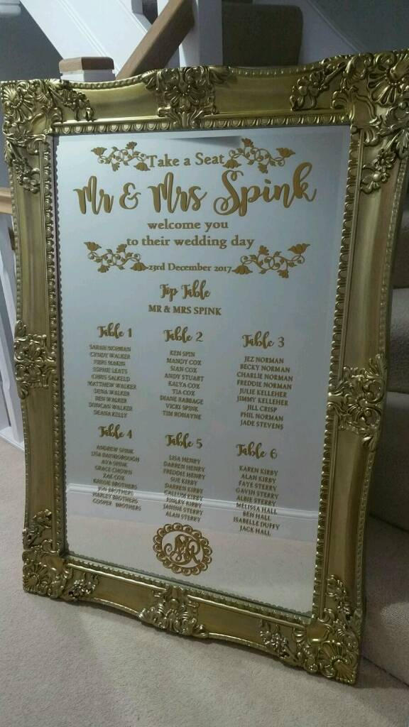 Very Large Gilded Gold Mirror Wedding Table Seating Plan