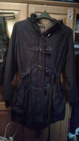 New look womens long heavy coat with faux fur hood black size 12