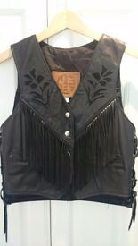Fringed leather biker waistcoat