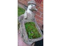 Large Stone Garden Planter Ornament, Jemima Puddleduck Duck With Wheelbarrow.