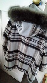 Blue grey and black check hooded coat 3/4 length 12 bargain