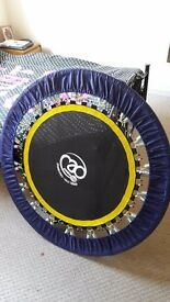 Fitness trampoline for rebounding.