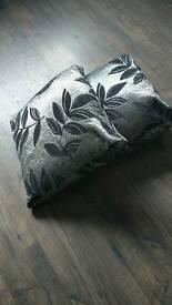 2 metallic/shiney floral cushions 45cm squares