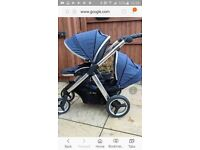 Oyster max 2 double tandem buggy stroller pram blue lots of extras