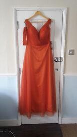 Burnt orange bridesmaid/prom dress. Size 14