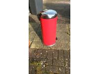 Modern flip top Pedal Bin in Red