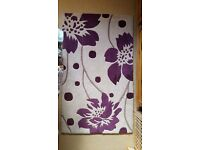 Purple and tan abstract flower rug for sale