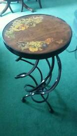 Ornate Antique Style Wrought Iron Standen with Decorative Wood Top