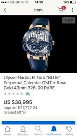 ULYSSE NARDIN Ltd Edition El Toro 'Blue' Perpetual Calendar GMT Rose Gold 43mm Extremely Rare Watch