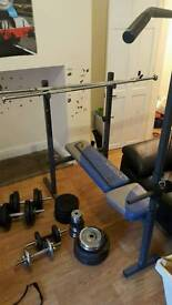 York fitness weight bench with weights