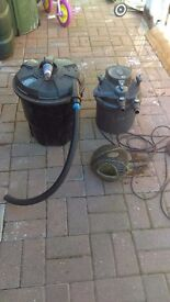 2 pond filters and pump
