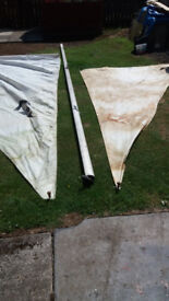Sailing Dingy Aluminium Mast with sails Please see photos