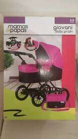 BRAND NEW Mamas & Papas Giovani Dolls Kids Toy Pram & Shoulder Bag Adjustable Hood