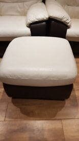 Cream leather sofa, electric reclining armchair and storage footstool