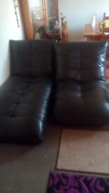 Leather lounger and arm chair