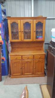 Buffet Hutch Cupboard Cabinet with lead lined glass doors