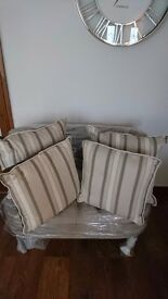 4 x Laura Ashley Forbury Stripe Truffle Cushions with contrast edge an velvet backing. Duck Feather