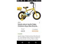 Kids digby bike with accessories