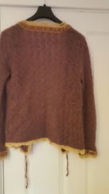 Cardigan - Plum with velvet trim