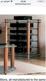 Stands Unique HiFi stand - cherry finish - 10 mm toughened glass