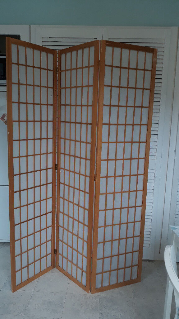 Folding Room Divider Privacy Screen 3 Panels 180h X 130w Wooden
