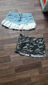 2 x mini skirts