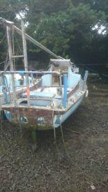 Bermudan rigged yacht