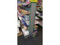 Silver Double Sided Slatwall Retail Shop Display Gondola Shelving Shopfittings 8x Glass Shelves