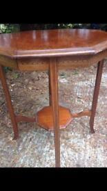 Octagonal oak side table